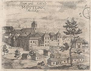 """Gesamtansicht, """"Statt vnd Schloss Möttling Metlika """".: Metlika ( Möttling ):"""