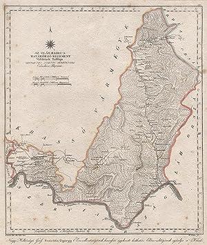 "Kupferstich- Karte, n. Kefzült v. Biller aus Görög, Magyar Atlas ., ""AZ Ohlah-Illirus Hatarörzo..."
