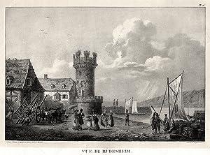 "TA., Wartturm m. Teilansicht, ""Vue de Rüdesheim"".: Rüdesheim:"