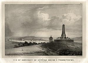 """Gesamtans., m. dem Hoche-Denkmal i. Vgr., """"Vue du Monument du Général Hoche a Weissenthurm. ..."""