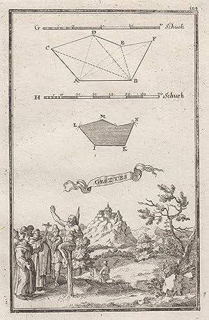 """Gesamtansicht, darüber geometrische Figuren, """"Gesztes"""".: Vargesztes ( Komarom - Esztergom ):"""