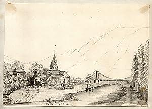 Gesamtansicht, rechts Lahn m. Kettenbrücke.: Nassau: