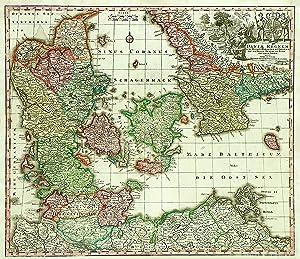 """Kupferstich- Karte, b. M. Seutter, """"Daniae Regnum cum Ducatu Holsatiae et Slesvici nec non ..."""