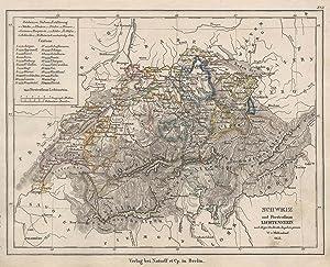 """Stahlstich- Karte, v. W. v. Möllendorf n. Streit, """"Schweiz und Fürstenthum Lichtenstein"""".: ..."""