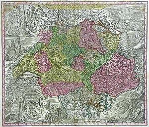 """Kupferstich- Karte, b. M. Seutter, """"Nova totius Helvetiae cum suis Subditis ."""".: Schweiz ( ..."""