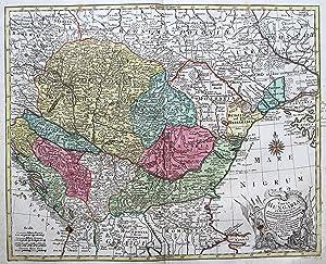 """Kst.- Karte, v. G.F. Lotter nach G. de L'Isle bei Tob. Conrad Lotter, """"Tabula Hungaria Et ..."""