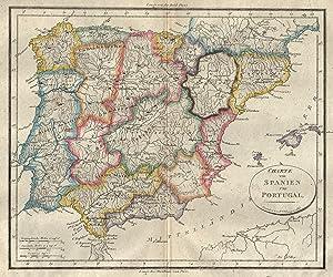 """Kupferstich- Karte, v. J.M. Champion, """"Charte von Spanien und Portugal"""".: Iberische ..."""