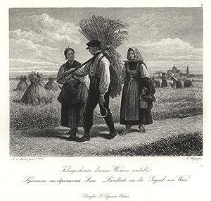 """Fernansicht, i. Vgr. Bauern bei der Heuernte, """"Landleute aus der Gegend von Wasa"""".: Wasa:"""