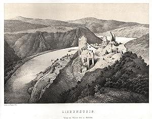 """die Ruinen aus d. Vogelschau, i. Hgr. das Rheintal, """"Liebenstein"""".: Kamp - Bornhofen: ..."""