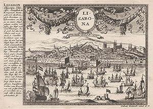 Gesamtans., im Himmel Vorhangkartusche m. Medaillon, links: Lissabon ( Lisboa