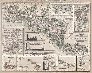 """Stahlstich- Karte, b. B.I., """"Mittelamerica mit dem Specialkarten über die Vulkanreihe von ..."""