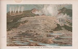 Orig. kolorierter Holzlstich: Sinterterrassen des Tetarata-Sprudels am Rotomahana-See. Neuseeland.