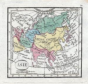 "Asie"" -- Asia Asien China Persia Arabia Russia Turkey Türkiye India Japan Karte map Kupferstich..."