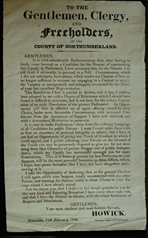 To The Gentlemen; Clergy And Freeholders Of The County Of Northumberland