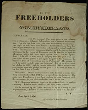 To The Freeholders Of Northumberland