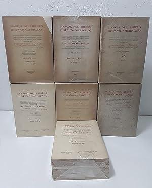 Manual del Librero Hispano-Americano. Segunda edición corregida: Antonio Palau y