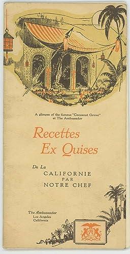 Recettes Ex Quises De La Californie Par Notre Chef.: CALIFORNIA - LOS ANGELES / RECIPES) Ed, Carl (...