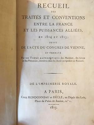 Recueil des traités et conventions entre la: Congrès de Vienne