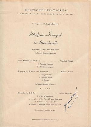 Sinfonie - Konzert der Staatskapelle. Dirigent: Schüler,: Berlin, Deutsche Staatsoper.