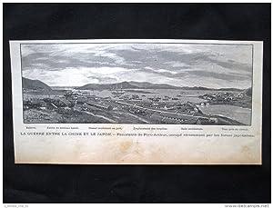 Immagine del venditore per La guerra tra Cina e Giappone - Panorama di Port Arthur Incisione del 1894 venduto da LIBRERIA IL TEMPO CHE FU