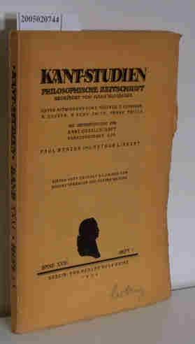 Bild des Verkäufers für Kant-Studien Philosophische Zeitschrift Band XXXI Heft 1 zum Verkauf von ralfs-buecherkiste