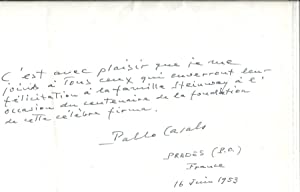 Signed tribute to Steinway & Sons. New: Casals, Pablo