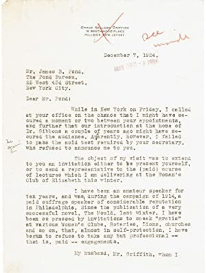 A CORRESPONDENCE consisting of 2 TYPED LETTERS: Griffith, Grace Kellogg