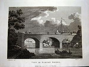 BARTON BRIDGE & AQUEDUCT MANCHESTER Antique Engraving Original Print 1794