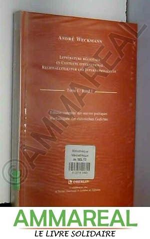 Littérature régionale et contexte international : Regionalliteratur: André Weckmann et