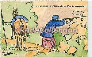 Carte Postale Ancienne Chasseur a Cheval Feu