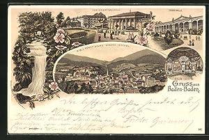 Lithographie Baden-Baden, Conversationshaus, Trinkhalle, Salon Louis XV
