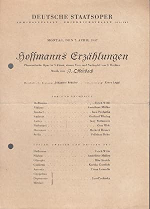 Hoffmanns Erzählungen. Phantastische Oper. Mit Vor- und: Berlin. Deutsche Staatsoper.