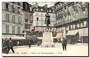 Paris Carte Postale Ancienne Statue de Beaumarchais