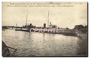 Carte Postale Ancienne Bateau Etablissements Schneider &