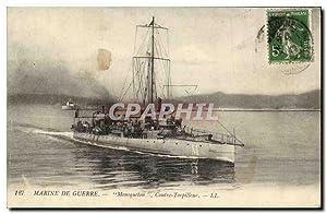 Carte Postale Ancienne Bateau Mousqueton Contre torpilleur