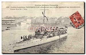 Carte Postale Ancienne Bateau Contre torpilleur Mousqueton