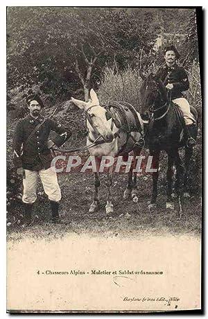 Carte Postale Ancienne Militaria Chasseurs alpins Muletier