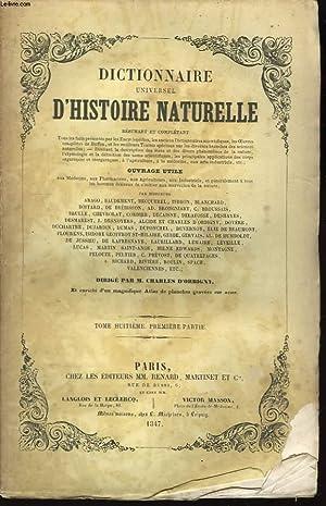 Dictionnaire Universel d'Histoire Naturelle. TOME VIII, 1ère: D'ORBIGNY Charles