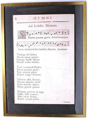 Hymni Ad Laudes Hymnus Antiphonal Manuscript Leaf
