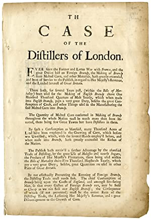 TH[E] CASE OF THE DISTILLERS OF LONDON [caption title]