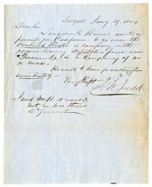 AUTOGRAPH NOTE, SIGNED, BY J.W. JUDD, TO: California Gold Rush]: