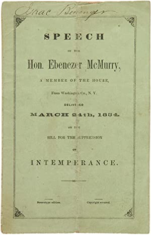 SPEECH OF THE HON. EBENEZER McMURRY, A MEMBER OF THE HOUSE, FROM WASHINGTON CO., N.Y. DELIVERED M...