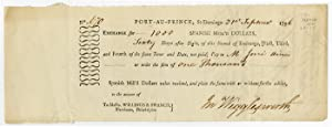 [PARTIALLY-PRINTED BILL OF EXCHANGE FOR SUPPLIES, SIGNED BY JOHN WIGGLESWORTH, AGENT TO THE COMMA...