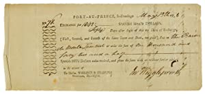 [PARTIALLY-PRINTED BILL OF EXCHANGE FOR SUPPLIES, SIGNED BY BARON DE MONTALEMBERT, COMMANDER OF T...