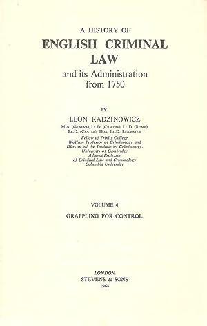 A history of English criminal law and: Radzinowicz, Leon: