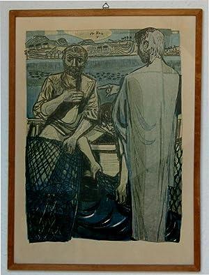 Bild des Verkäufers für Holzschnitt von F.H. - Fischer auf einem See, Originalholzschnitt zum Verkauf von Hanno Böttcher
