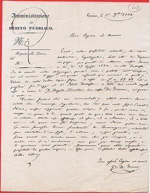Immagine del venditore per Lettera privata su carta intestata Amministrazione Debito Pubblico. Torino 1834 venduto da libreria biblos