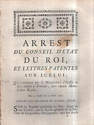 Arrest du Conseil d'état du Roi, et: Turgot]