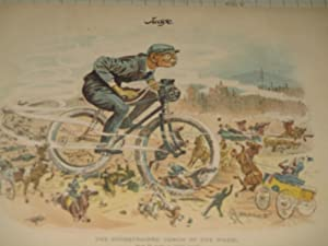 """1893 Judge Lithograph of """"The Unrestrained Demon of the Wheel"""" - 19th Century Bicycle ..."""