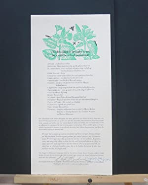 This breakfast is brought to you by a wild bunch of pollinators (Signed Broadside)